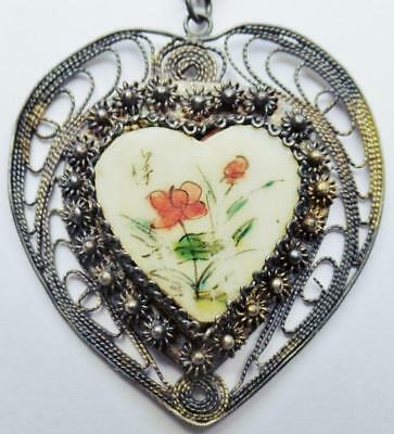 Antique Chinese Silver Cannetille Filigree Hand Painted Heart Pendant Necklace