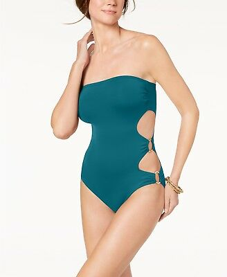 Vince Camuto Marine Blue Cut-Out Side Bandeau One-Piece Swimsuit 6 NWT