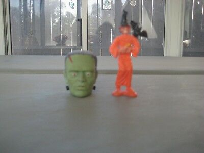 Vintage 3.5 Inch Plastic Halloween Witch and Frankenstein Pencil Topper