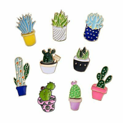 Fashion DIY Cactus Plant Brooches Pins Badge Lapel Women Men Jewelry Party Gift