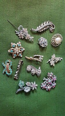 Job lot of vintage & antique broaches spares repairs craft jewellery making
