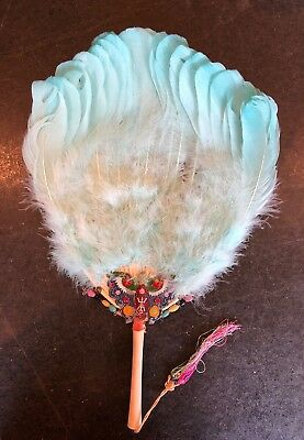 Vintage Asian Aqua Blue Feather Hand Fan Painted Details Beads Feathered Tassled