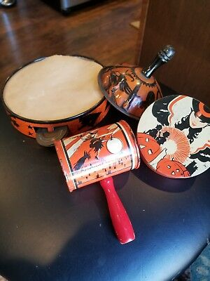 Vintage Lot of 4 Halloween / Other Tin Noisemakers - Witch - Ghost - Pumpkin Cat