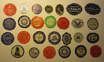 Lot of 27 Old Vintage - BANK and FINANCIAL - Paper Document SEALS / LABELS