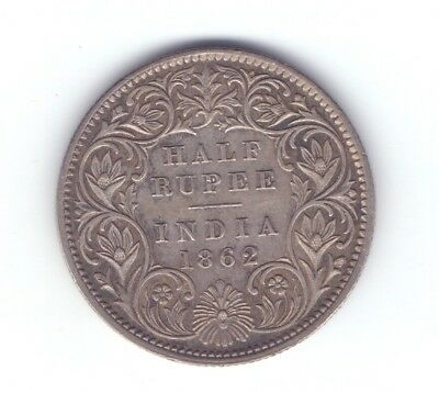 1862 British India Silver 1/2 Half Rupee coin better grade