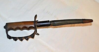 Antique WWI US ACCO 1917  Trench Fighting Knife with Leather Scabbard