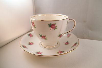 Vintage Sampson Smith Old Royal Bone China England Cup & Saucer Pink Roses