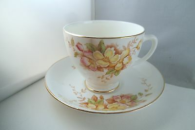 Vintage Sampson Smith Old Royal Bone China England Cup & Saucer Yellow Flowers