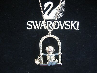 Swarovski Swan Signed Crystal Boy On A Swing  Pendant Necklace New Rare Retired