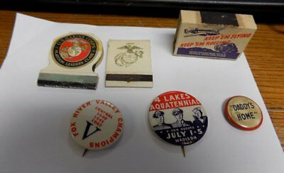 Lot Of Vintage Wwii Small Items, Matches & Pins~Estate Find