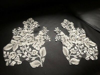 2x Large Off White Embroidered With Silver Thread Floral Applique Wedding Motif
