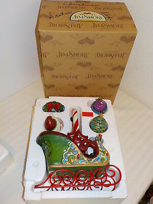 """Jim Shore """"jingle All The Way"""" Set Of 5 * Sleigh W/4 Hanging Ornaments"""