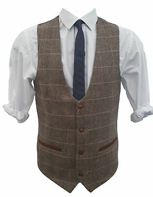 New Marc Darcy  Men's Brown Tweed Checked Slim Fit Waistcoat Size 42R