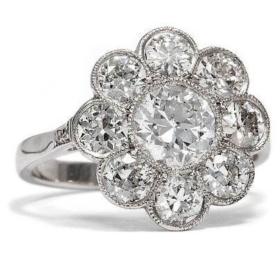 Um 1910: Antiker Diamant RING in Platin Diamanten Blüte Verlobungsring Edwardian