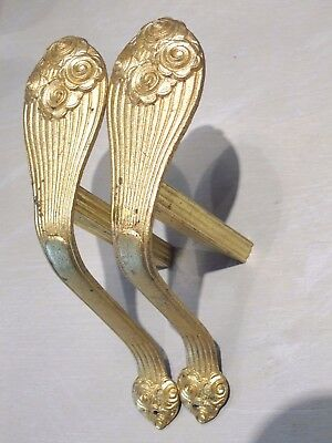 French Vintage Antique Gilt Bronze Ormulo  Brackets Curtain Tiebacks Art Deco X2