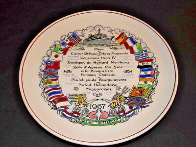 Farewell Dinner Plate On Board S.s. Rotterdam Holland America Line 1967 - Rare!