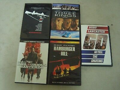 Lot of 5 Hamburger Hill Go tell the spartans Three Kings, War Movie DVDs