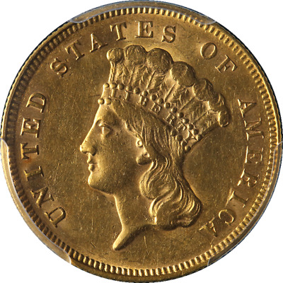 1878 Indian Princess Gold $3 PCGS AU58 Great Eye Appeal Fantastic Luster