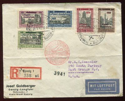 DANZIG GERMAN OCCUPATION 1932 Overprinted Set on REGISTERED AIRMAIL COVER to USA