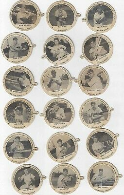 Very Rare Complete Set Of (18) 1954 Dixie Lids With Baseball Players