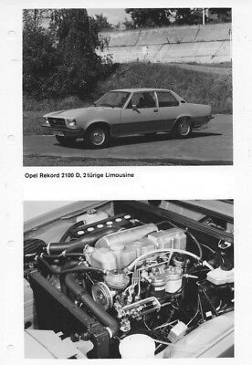 1973 Opel Rekford 2100D 2 Door Sedan & Engine ORIGINAL Factory Photo oac0809