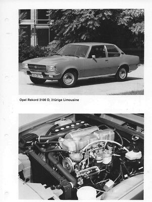 1973 Opel Rekford 2100D 2 Door Sedan & Engine ORIGINAL Factory Photo oac0810