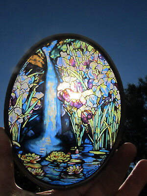 """Vintage Glassmasters Louis C. Tiffany """"Waterfall"""" Oval Stained Glass Suncatcher"""