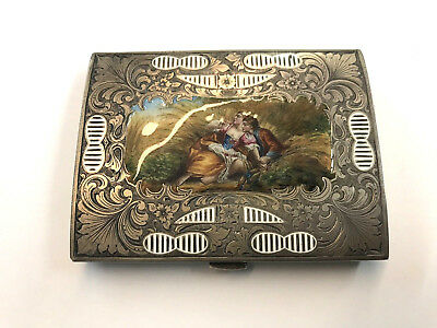 Late 1800's / Early 20Th C. Sterling Silver Hand Painted Enamel Box