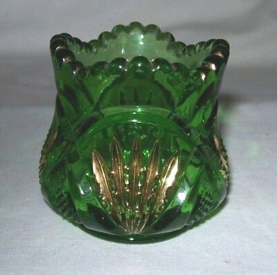 Lovely RARE EAPG Heisey Green/Gold Pineapple with Fan Toothpick Holder-1902