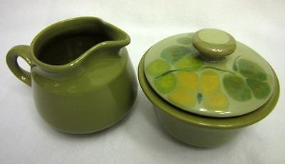 Vintage Franciscan PEBBLE BEACH Creamer & Sugar with Lid Avocado Green