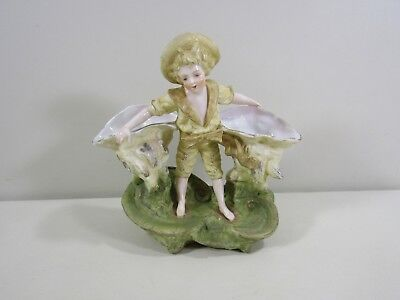"German Bisque 7 1/4""h Boy Double Seashell Shell Vase"