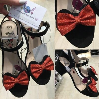 Primark DISNEY MINNIE MOUSE Black Glitter Low Heels Red Bow Shoes