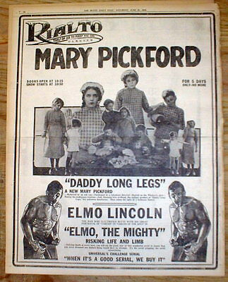 2 newspapers w Large 1919 poster display ads featuring  MOVIE STAR MARY PICKFORD