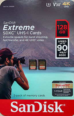 2 Pack Sandisk 128GB Extreme SD Memory Card SDXC UHS-I 4K UHD Total 256GB