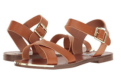 be7fd4a61e22 New Steve Madden Bayley Cognac Strappy Sandals Womens 8.5 Flats Free Ship