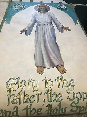 Glorious Vintage Catholic Church Altar Hand Painted Canvas Banner W/ Jesus