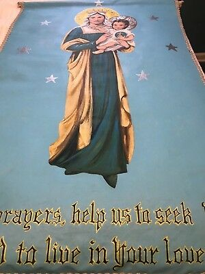 Glorious Vintage Catholic Church Altar Hand Painted Canvas Virgin Mary Banner