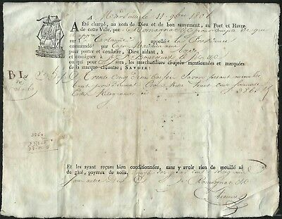1806-French Bill Of Lading-Marseille To Agde