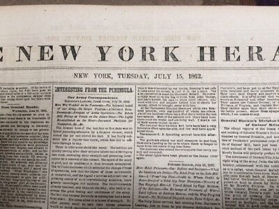 THE NEW YORK HERALD  Newspaper from July 15 , 1862 - 8 pages