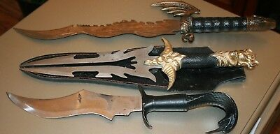 Lot Of 3 Stainless Swords Pakistan Flying Dragon Viper Dagger All Are Heavy Nice