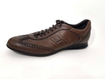 91dedc5a4eff Hogan by TODS Mens Brown leather Sneakers Sz 8.5 Casual Shoes Made in Italy