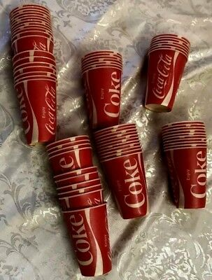 "NEW (LOT OF 64) vintage ""ENJOY COCA COLA"" WAX PAPER DRINKING CUPS (4"" TALL) COKE"