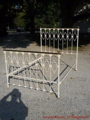 ~Nice~ Early Full Size Iron & Brass Victorian Bed W/ Heads / Faces Repainted(Nr)