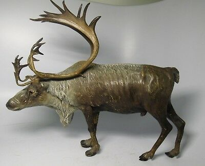 Antique Signed Franz Bergman Austrian Cold Painted Bronze Stag Buck Figurine