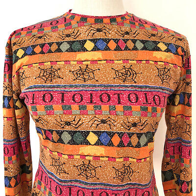 Vintage TODD OLDHAM graphic top, LARGE, curvy, stretchy, long sleeves, EUC