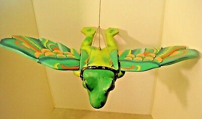 Solid Wooden Hand Carved & Hand Painted Unusual Large Flying Frog Ornament