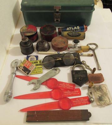 Vintage Tool Tackle Box Oiler Cans Glasses Ruler Fishing Advertising Tins Etc.