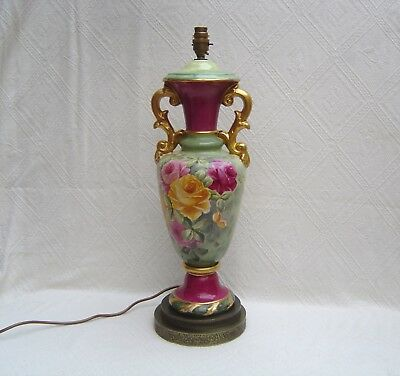 "Large Antique Porcelain Lamp - 24"" - Hand Painted Roses - Signed - Bavarian ??"