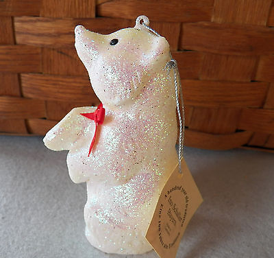 NWT Ino Schaller Bayern Germany White Glitter Bear Christmas Ornament