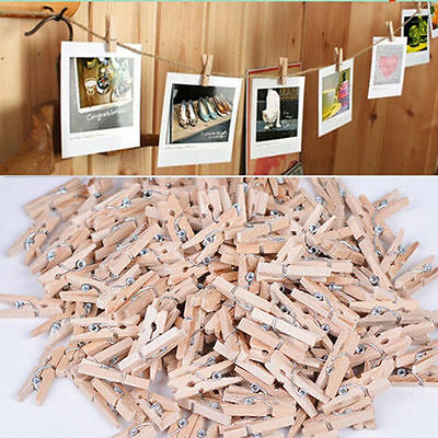 100Pcs DIY Mini Wooden Craft Clip Clothes Photo Paper Peg Pin Clothespin